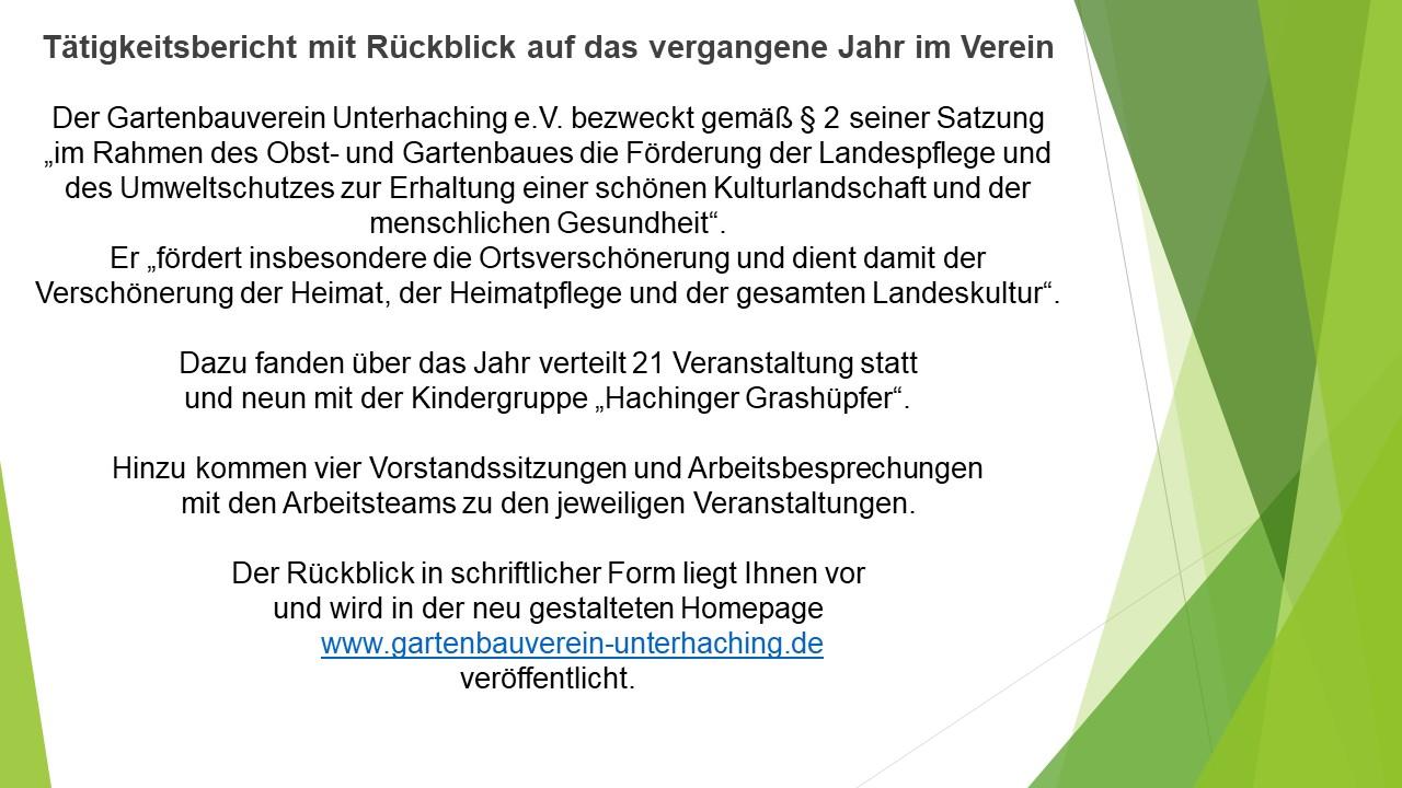 Jahresberichte - Gartenbauverein Unterhaching